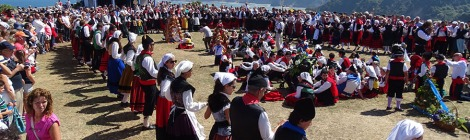 Spanish Festivals La Regalina in Asturias photo which shows regional customers and beautiful scenary